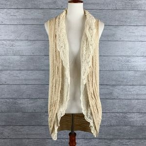 Anthro Knitted & Knotted Cable Knit Lace Cardigan